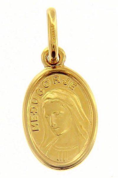 Immagine di Madonna di Medjugorje Medaglia Sacra Pendente ovale Conio gr 1,3 Oro giallo 18kt Unisex Donna Uomo