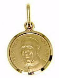 Immagine di Papa Francesco Franciscus Pontifex Maximus Medaglia Sacra Pendente tonda Conio gr 2,2 Oro giallo 18kt Unisex Donna Uomo
