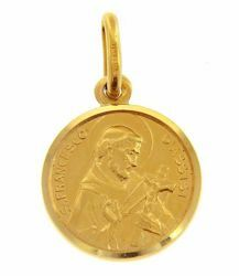 Picture of Saint Francis of Assisi Coining Sacred Medal Round Pendant gr 2 Yellow Gold 18k with smooth edge Unisex for Woman and Man