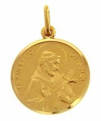 Picture of Saint Francis of Assisi Coining Sacred Medal Round Pendant gr 4,7 Yellow Gold 18k with smooth edge Unisex for Woman and Man