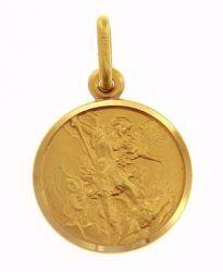 Immagine di San Michele Arcangelo Medaglia Sacra Pendente tonda Conio gr 2,5 Oro giallo 18kt Unisex Donna Uomo