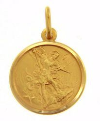 Immagine di San Michele Arcangelo Medaglia Sacra Pendente tonda Conio gr 3,2 Oro giallo 18kt Unisex Donna Uomo