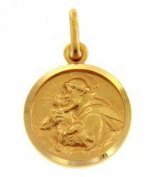 Immagine di Sant'Antonio da Padova con bambino Medaglia Sacra Pendente tonda Conio gr 2,8 Oro giallo 18kt con bordo liscio Unisex Donna Uomo