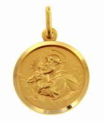 Immagine di Sant'Antonio da Padova con bambino Medaglia Sacra Pendente tonda Conio gr 3,3 Oro giallo 18kt con bordo liscio Unisex Donna Uomo