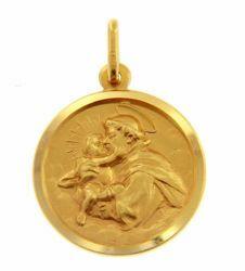 Immagine di Sant'Antonio da Padova con bambino Medaglia Sacra Pendente tonda Conio gr 4,6 Oro giallo 18kt con bordo liscio Unisex Donna Uomo