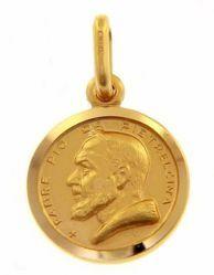 Immagine di Santo Padre Pio da Pietrelcina Medaglia Sacra Pendente tonda Conio gr 2 Oro giallo 18kt con bordo liscio Unisex Donna Uomo