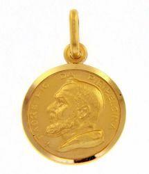 Immagine di Santo Padre Pio da Pietrelcina Medaglia Sacra Pendente tonda Conio gr 2,5 Oro giallo 18kt con bordo liscio Unisex Donna Uomo