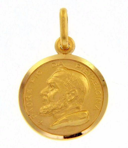 Picture of Saint Pio of Pietrelcina Coining Sacred Medal Round Pendant gr 2,5 Yellow Gold 18k with smooth edge Unisex Woman Man