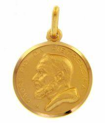 Immagine di Santo Padre Pio da Pietrelcina Medaglia Sacra Pendente tonda Conio gr 3,2 Oro giallo 18kt con bordo liscio Unisex Donna Uomo