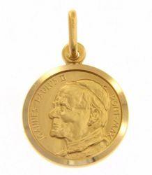 Immagine di Santo Papa Giovanni Paolo II Ioannes Paulus II Pontifex Maximus Medaglia Sacra Pendente tonda Conio gr 2,7 Oro giallo 18kt Unisex Donna Uomo