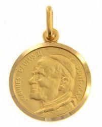 Immagine di Santo Papa Giovanni Paolo II Ioannes Paulus II Pontifex Maximus Medaglia Sacra Pendente tonda Conio gr 3,5 Oro giallo 18kt Unisex Donna Uomo