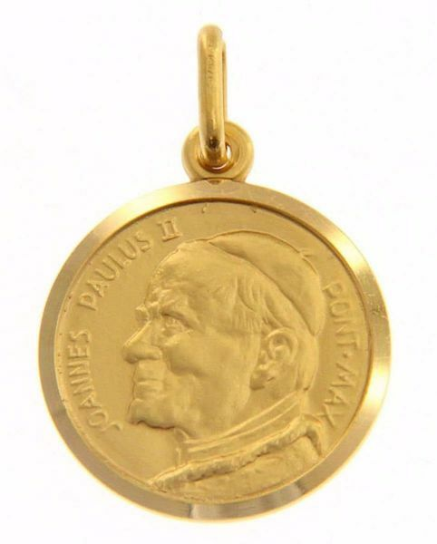 Picture of Saint John Paul II Ioannes Paulus II Pontifex Maximus Coining Sacred Medal Round Pendant gr 3,5 Yellow Gold 18k Unisex Woman Man