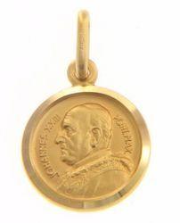 Imagen de Santo Papa Juan XXIII Ioannes XXIII Pontifex Maximus Medalla Sagrada Colgante redonda Acuñación gr 2,1 Oro amarillo 18kt Unisex Mujer Hombre