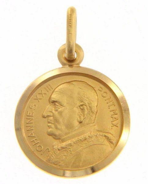 Immagine di Santo Papa Giovanni XXIII Ioannes XXIII Pontifex Maximus Medaglia Sacra Pendente tonda Conio gr 2,5 Oro giallo 18kt Unisex Donna Uomo