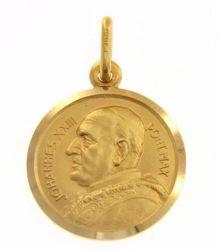 Imagen de Santo Papa Juan XXIII Ioannes XXIII Pontifex Maximus Medalla Sagrada Colgante redonda Acuñación gr 3,2 Oro amarillo 18kt Unisex Mujer Hombre
