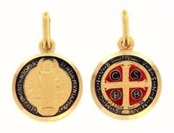 Picture of Cross of Saint Benedict Crux Sancti Patris Benedicti Coining Sacred Medal Round Pendant gr 2,4 Yellow Gold 18k with Enamel Unisex Woman Man