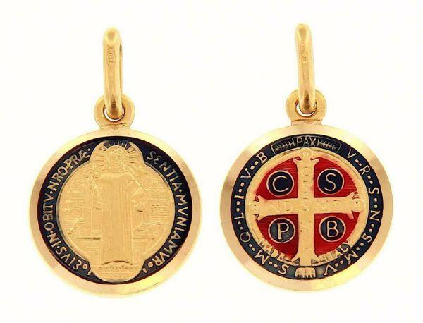 Imagen de Cruz de San Benito Crux Sancti Patris Benedicti Medalla Sagrada Colgante redonda Acuñación gr 2,4 Oro amarillo 18kt con Esmalte Unisex Mujer Hombre