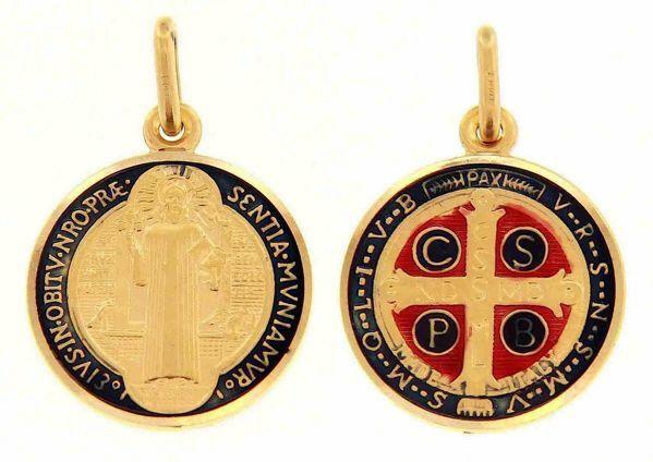 Immagine di Croce di San Benedetto Crux Sancti Patris Benedicti Medaglia Sacra Pendente tonda Conio gr 3,9 Oro giallo 18kt con Smalto Unisex Donna Uomo