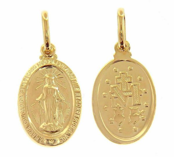 Immagine di Madonna Miracolosa Madonna Milagrosa Ó Maria concebida sem pecado, rogai por nós Medaglia Pendente ovale gr 0,85 Oro giallo 9kt