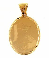 Picture of Baptism Gift of God Oval Pendant gr 1,9 Yellow Gold 18k with decorated edge for Baby Girl and Boy