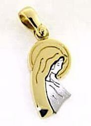 Picture of Madonna in prayer Pendant gr 2,3 Bicolour yellow white Gold 18k for Woman