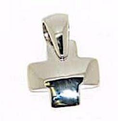 Immagine di Croce bombata quadrata Ciondolo Pendente gr 1,85 Oro bianco massiccio 18kt da Donna