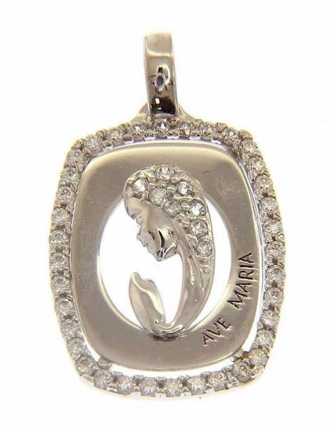 Picture of Ave Maria Madonna praying with Light Spots Rectangular Pendant gr 2 White Gold 18k with Zircons for Woman