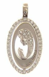 Picture of Ave Maria Madonna praying with Light Spots Oval Pendant gr 2,2 White Gold 18k with Zircons for Woman