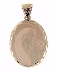 Picture of Madonna and Child Oval Pendant gr 1,9 White Gold 18k with decorated edge for Woman