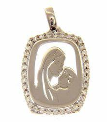 Imagen de Madonna Virgen con el Niño con puntos de Luz Colgante oval gr 1,85 Oro blanco 18kt con Zircones para Mujer