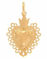 Picture of Ex voto Sacred Heart of Jesus with Cross and pierced edge Fashion Pendant gr 2,1 Yellow Gold 18k for Woman