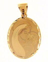 Imagen de Madonna Virgen con el Niño Colgante oval gr 1,9 Oro amarillo 18kt con borde decorado para Mujer