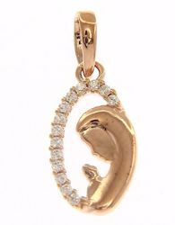 Picture of Madonna praying with Light Spots Oval Pendant gr 1 Rose Gold 18k with Zircons for Woman