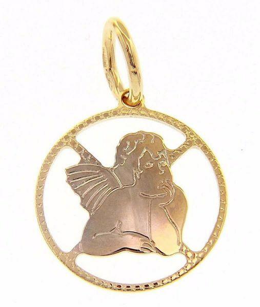 Imagen de Ángel de Rafael perforado Colgante gr 0,95 Bicolor Oro blanco amarillo 18kt con borde de diamante para Mujer y para Niña y Niño