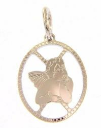Picture of Angel of Raphael perforated Oval Pendant gr 0,95 White Gold 18k with diamond edge for Woman, Boy and Girl