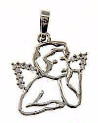 Immagine di Angelo stilizzato con punti luce Ciondolo Pendente gr 1,8 Oro bianco 18kt con Zirconi Donna Bimba Bimbo
