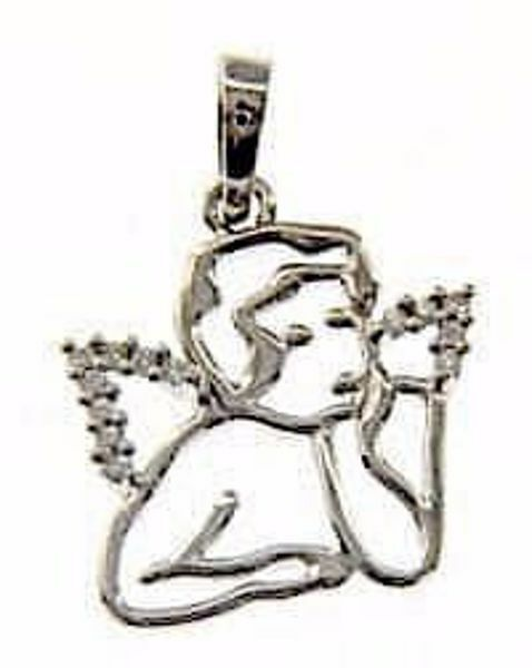 Picture of Stylized Angel with Light Spots Pendant gr 1,8 White Gold 18k with Zircons for Woman, Boy and Girl