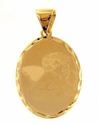 Picture of Angel of Raphael Oval Pendant gr 1,9 Yellow Gold 18k with decorated edge for Woman, Boy and Girl
