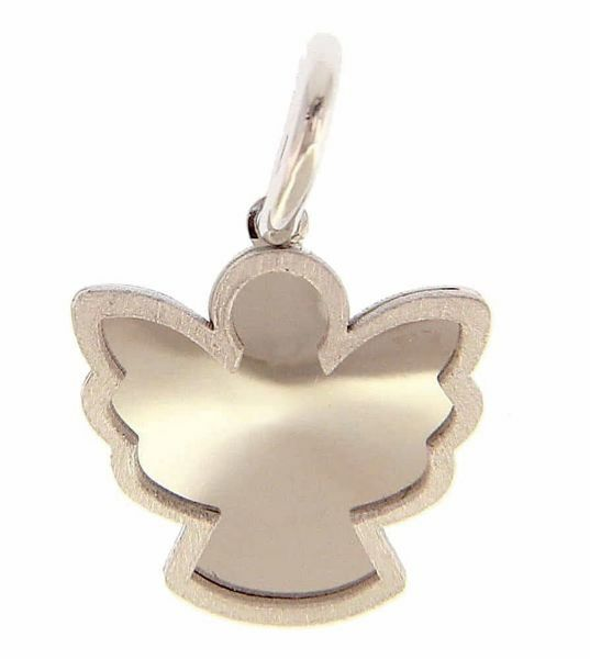 Picture of Guardian Angel Silhouette Pendant gr 0,95 White Gold 18k with satin edge for Children (Boys and Girls)