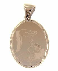 Picture of Baptism Gift of God Oval Pendant gr 2 White Gold 18k with decorated edge for Baby Girl and Boy