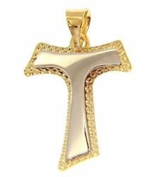 Picture of Saint Francis double Tau Cross Pendant gr 1,2 Bicolour yellow white Gold 18k relief printed plate for Woman