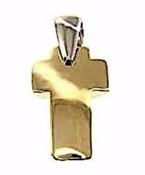 Immagine di Croce bombata semplice Ciondolo Pendente gr 2,1 Bicolore Oro massiccio giallo bianco 18kt da Donna