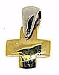 Immagine di Croce bombata Ciondolo Pendente gr 2 Bicolore Oro massiccio giallo bianco 18kt da Donna