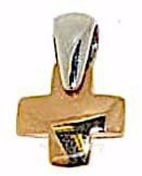 Picture of Square convex Cross Pendant gr 2 Bicolour rose white solid Gold 18k for Woman