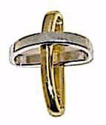 Immagine di Croce con bracci ad anello Ciondolo Pendente gr 1,15 Bicolore Oro giallo bianco 18kt da Donna