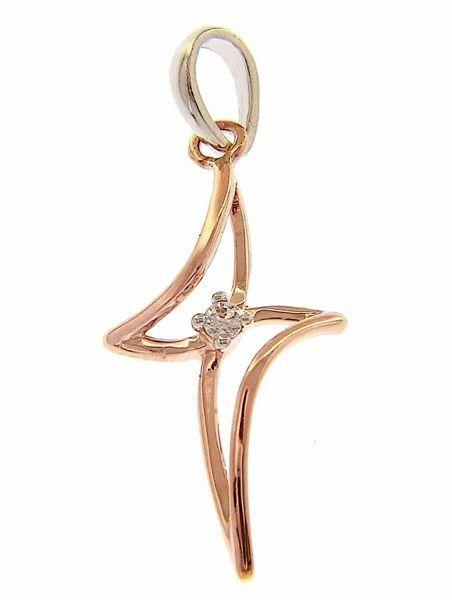 Immagine di Croce design con castone taglio brillante punti luce Ciondolo Pendente gr 0,9 Bicolore Oro rosa bianco 18kt con Zirconi da Donna