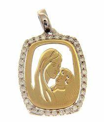 Imagen de Madonna Virgen con el Niño con puntos de Luz Colgante rectangular gr 1,85 Bicolor Oro blanco amarillo 18kt con Zircones para Mujer