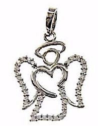 Picture of Angel of the Heart with Light Spots Pendant gr 2 White Gold 18k with Zircons for Woman