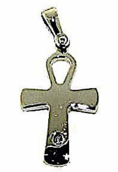 Immagine di Chiave della Vita Ankh Croce Copta Ansata Ciondolo Pendente gr 2 Oro bianco 18kt con Brillante da Donna