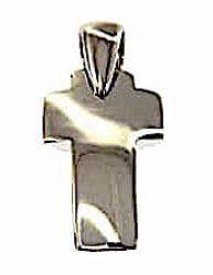 Immagine di Croce bombata liscia Ciondolo Pendente gr 1,9 Oro bianco massiccio 18kt da Donna